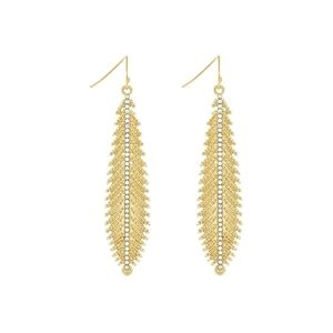 Jessica simpson gold feather drop earrings